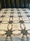 Double Wedding Ring Queen Quilt 95 x 88 Scalloped Edge