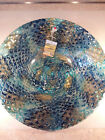 Beautiful Large Decorative Art Glass Blue and Gold Bowl 15 1 2 Diameter Italy