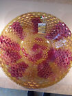 Beautiful Large Decorative Art Glass Gold and Maroon Bowl 15 1 2 Diameter Italy