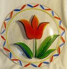 Handpainted Kosta Boda Sweden Glass Serving Platter with Large Red Yellow Tulip