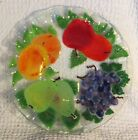 Andra DuRee Martin Fused Art Glass Bowl with Apples Pears Oranges  Grapes1998