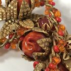 Gorgeous Vintage Signed Miriam Haskell Brooch W Red  Orange Blown Glass Beads