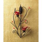 Ruby Blossom Tea Light Sconce Wall Mounted Candle Holder Indoor Outdoor Decor