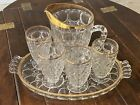 Jeannette Thumbprint Pattern Pressed Glass Pitcher 4 Glasses w Tray Gold Rim