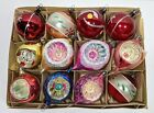 12 Vintage Glass Christmas Tree Ornaments 7 Super Indents 5 Decorated Ovals
