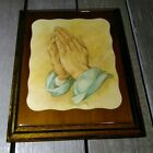 Vintage Alonso Praying Hands Picture 11x14 wood laminate Glass Rare Gorgeous