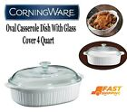 CorningWare French White Oval Casserole Dish With Glass Cover 4 Quart Durable