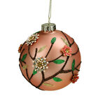 Floral Christmas Glass Ball Beaded Ornament Rose Gold Colored Collectible 4