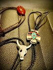 Bolo Tie Lot Native American Southwestern Turquoise Coral Cowboy Eagle Skull Dad