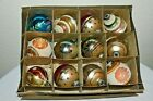12 Vintage SHINY BRITE Atomic flock + GLASS CHRISTMAS ORNAMENTS in box USA MADE