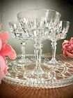 4 Stylish Vintage Emerald Cut Crystal Champagne Coupes France