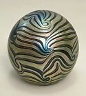 Vintage Studio Art Glass Paperweight Unsigned Fiske Pulled Feather Iridescent