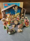 Vintage Hand Painted 15PC Nativity Set Sears Made of Papier Mache Composition