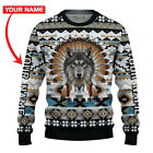 New Native American Wolf Premium Ugly Sweater Wolf Lover Gift Christmas Gift