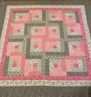 Quilt Top Log Cabin Pink  Gray 60 X 60 Baby Crib Bed Couch Decor Pieced