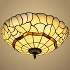 Retro Tiffany Style Stained Glass Bowl Flush Mount Ceiling Lighting Fixture 16