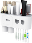 Toothbrush Holder Wall Mounted with Double Automatic Toothpaste Dispenser Squeez