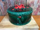 VTG lefton japan round christmas holly bow cookies candy dish trinket boxx1