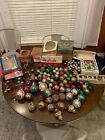 Huge Lot Of Very Old Vintage Christmas Decorations Painted Glass Ornaments