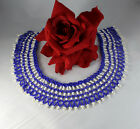 Vintage Blue  White Glass Beaded Collar Necklace CAT RESCUE