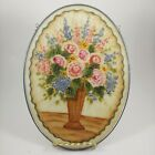 HAND PAINTED Opal Glass Suncatcher Pink  Blue Floral Flowers 9 Large Oval