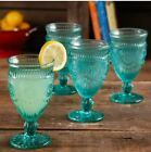 The Pioneer Woman Adeline 12 Ounce Footed Glass Goblets Set of 4 Tuquoise