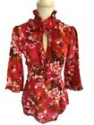 NEW J Crew Pink Floral Lightweight Cotton Ruffle Blouse Size 6 98