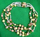 Vintage Pink Crystal Glass Bead 4 Strand Necklace Stunning Clasp Estate Jewelry