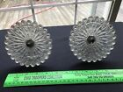 2 LARGE Antique Curtain Glass Tiebacks Sandwich Type Pair Clear EAPG