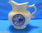 VERY NICE LARGE McCOY PITCHER/JAR WITH BLUE WILLOW WARE MOTIF SCROLL HANDLE