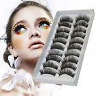 10 Pairs Long False Eyelashes Fake Makeup Eye Lash Black 005