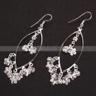 Korean Fashion Plum Flowers Style Bead Eardrop Silver-plated Dangle Earrings
