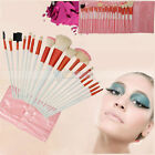 18 PCS Goat Hair Cosmetic Eyeshadow Brusher Makeup Brush Set Kit Case Pink