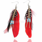 Stylish White Spots Red Black Goose Feather Beads Dangle Earrings
