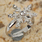Charming Shinning Snowflake-shaped Style Adjustable rhinestone alloy Rings