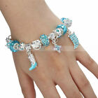 Charming Shoe and Dog-shaped Blue Glaze Bead Silver-Plated Link Chain Bracelet