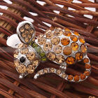 Cute Pretty Topaz Mouse-shaped Rhinestone Brooch