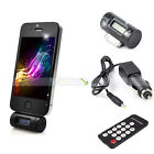 New FM Transmitter Remote Car Charger Adapter Round for iPhone 4 4S 3GS 3G iPod