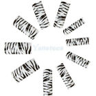 New 70pcs Zebra Pattern Acrylic French False Nail Half Tips Black White