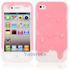 New 3D Melt Ice-Cream Skin Hard Case Cover Skin for iPhone 4 4S Pink + White