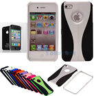 Silver Hybrid Hard Skin Case Cover for Apple iPhone 4 4G 4S + Screen Protector