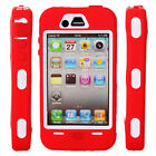 New Hard Silicone + Plastic Case Cover for iPhone 4 4S Red + White