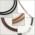 Sterling Silver 3mm Braided Genuine Leather Cord Necklace Bracelet Lobster Clasp