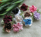200 40pcs 2tone Satin Ribbon Flowers Bows Appliques Craft Wedding U pick E49