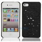 Black 3D Sculpture Design Rose Flower Hard Plastic Cover Case for iPhone 4 4G 4S