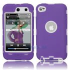 Hot Deluxe 3Piece Hard Case Cover Skin for ipod Touch 4 4G 4th Purple + White