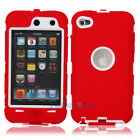 Hot Deluxe 3Piece Hard Case Cover Skin for ipod Touch 4 4G 4th Red + White