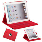 New 360 Magnetic Smart Cover Leather Case Rotating Stand for iPad3 iPad 3 Red