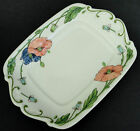 Villeroy & Boch Butter Plate Small Tray Amapola Coral Blue Poppy Germany Retired