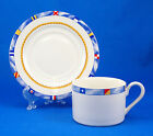 Fitz and Floyd REGATTA Flat Cup and Saucer Set 2.5 in. Habitat Americana Flags